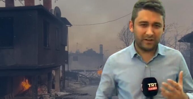 Manavgat'taki yangın felaketini sunan TRT muhabiri gözyaşlarına hakim olamadı