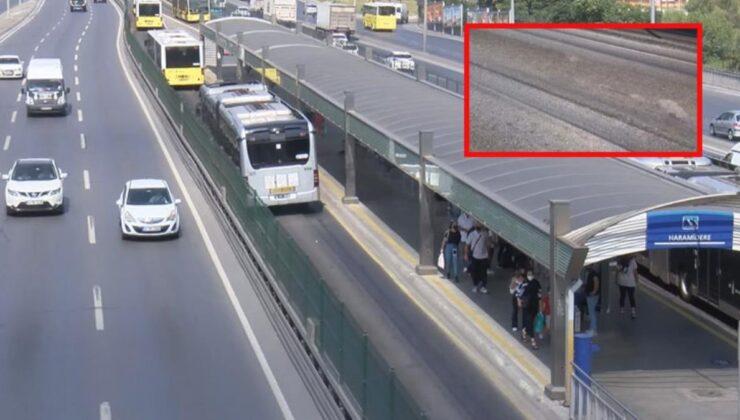 Metrobüs yolunda şaşırtan görüntü! Aşırı sıcaktan dolayı asfalt eridi