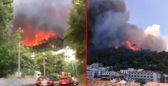 Son Dakika: Bir yangın da Marmaris'te çıktı! Armutalan'da yükselen alevler yerleşim yerlerini tehdit ediyor