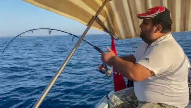 Amatör balıkçı, oltayla 30 kiloluk kuzu balığı yakaladı! Tekneye çıkarması yarım saat sürdü