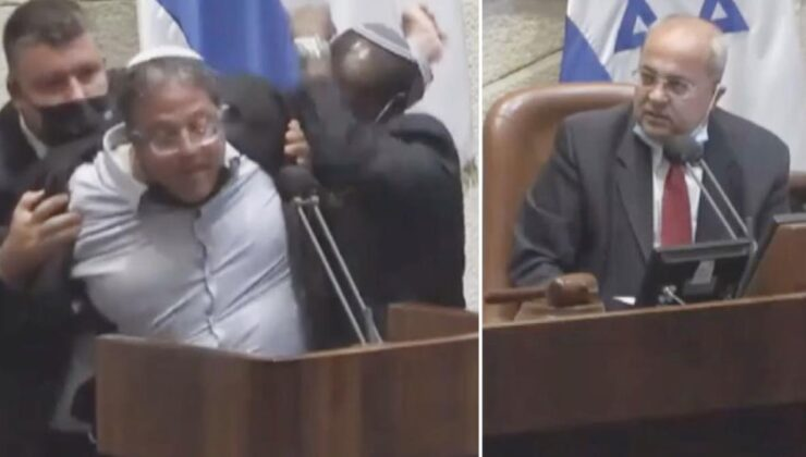 İsrail Parlamentosu'nda Arap vekile 'Terörist' diyen sağcı vekil, yaka paça dışarı atıldı