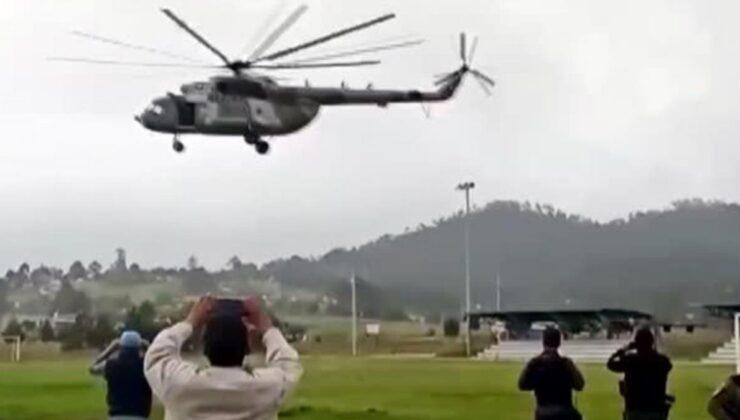 Meksika İçişleri Bakanı'nın da içinde olduğu helikopter iniş yaptığı sırada düştü! Anbean kamerada