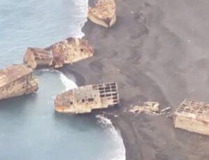 2. Dünya Savaşı sırasında batan Japon gemileri, yanardağdaki hareketlilik sonrası ortaya çıktı